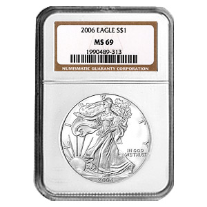 2006 1 oz USA Silver Eagle MS-69 NGC