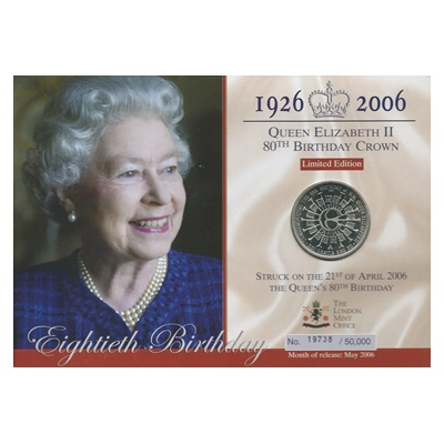 2006 QEII 80th Birthday Crown Presentation Card