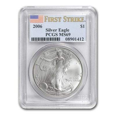 2006 1oz USA Silver Eagle MS-69 PCGS (First Strike) - Click Image to Close