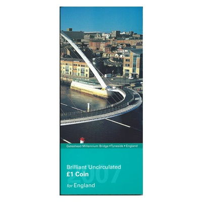 2007 BU £1 Coin for England-Millennium Bridge-Presentation Pack