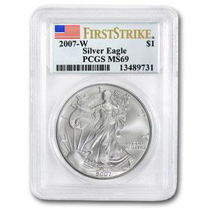 2007 1 oz USA Silver Eagle MS-69 PCGS (First Strike)