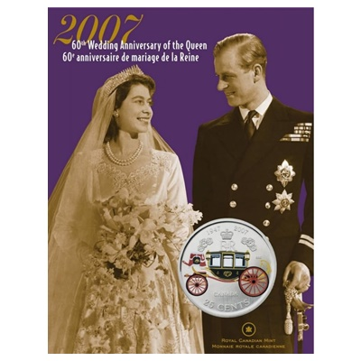 2007 25-Cent - 60th Wedding Anniversary QEII - Coloured
