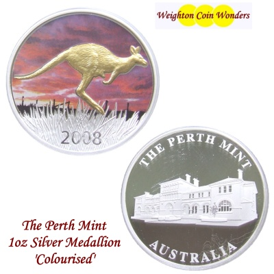 2008 1oz Silver KANGAROO Medallion - Coloured