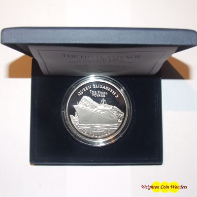 2008 Gibraltar 5oz Silver Proof Coin - Final Voyage of the QE2
