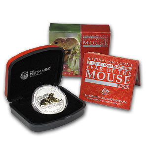 2008 1oz Silver Lunar GILDED MOUSE - Boxed