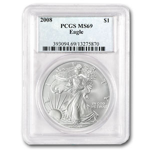 2008 1 oz USA Silver Eagle MS-69 PCGS
