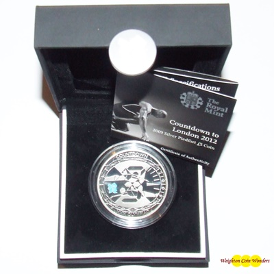 2009 Silver Proof PIEDFORT £5 Crown - Countdown to London 2012