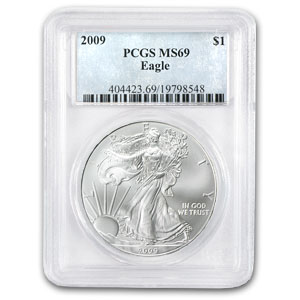 2009 1 oz USA Silver Eagle MS-69 PCGS