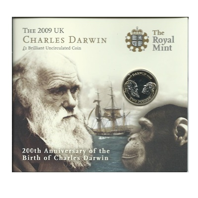 2009 BU £2 Coin Pack - 200th Anniversary of Charles Darwin