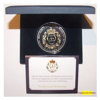 2010 5oz Silver Proof Gold Plated Coin - Royal Engagement