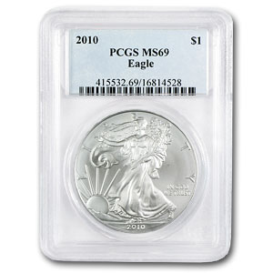 2010 1 oz USA Silver Eagle MS-69 PCGS
