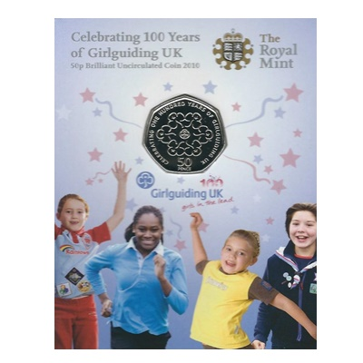 2010 BU 50p Coin Card - Girlguiding UK
