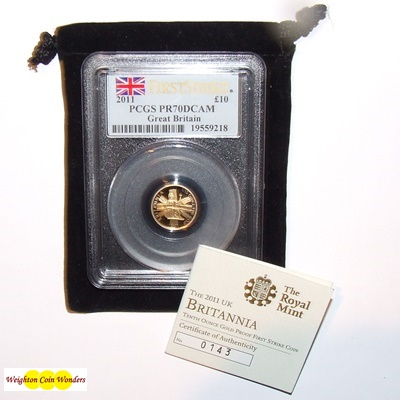 2011 Gold Proof 1/10th oz Britannia - PCGS PR70