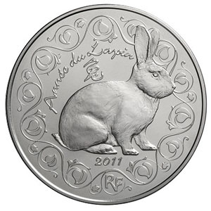 2011 €5 Silver BU - Year of the RABBIT
