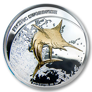 2011 Fiji $2 Silver Proof 1oz Gilded Pacific Swordfish