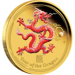 2012 Lunar Coloured DRAGON 1/10th oz GOLD PROOF COIN