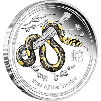 2013 1/2oz Silver Proof Lunar SNAKE - Coloured