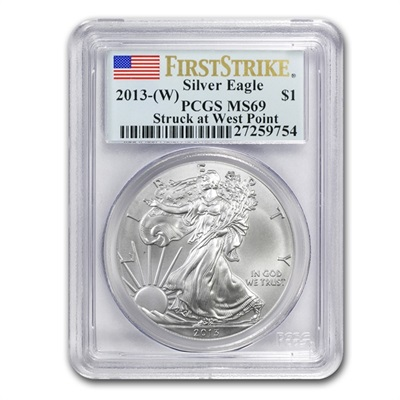 2013w 1 oz USA Silver Eagle MS-69 PCGS (First Strike)