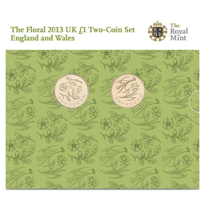 2013 BU £1 Coins - The Floral Set (England & Wales)