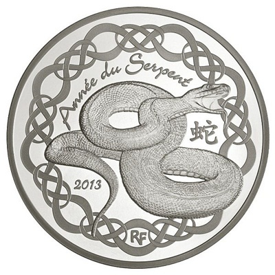 2013 €10 Silver Proof - Year of the SNAKE