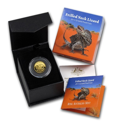 2013 Gold Proof $2 - Frilled Neck Lizard