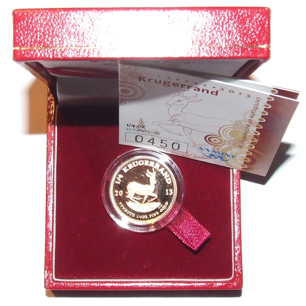 2013 Gold Proof 1/4oz KRUGERRAND