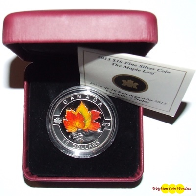 2013 O'Canada 1/2oz Silver Proof - Coloured MAPLE LEAF