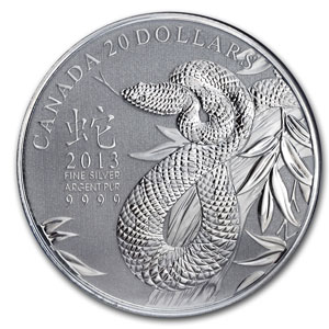 2013 $20 1/4oz Silver Lunar Snake - Asian Market
