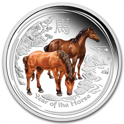 2014 1/2oz Silver Proof Lunar HORSE - Coloured