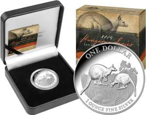 2014 1oz Silver Proof Kangaroo - Explorers' First Sightings