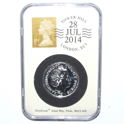 2014 UK £20 Fine Silver Coin - WWI Slabbed and DateStamp™