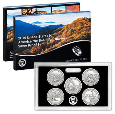 2014 USA America the Beautiful Quarters Silver Proof Set
