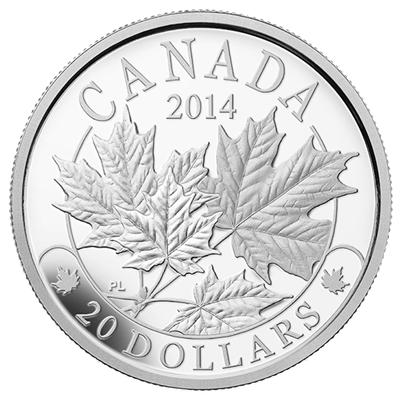 2014 1oz Silver Proof Coin - Majestic Maple Leaves