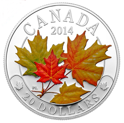 2014 1oz Silver Proof Coin - Majestic Maple Leaves COLOUR