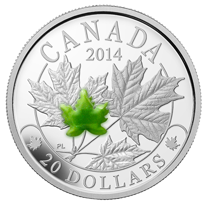 2014 1oz Silver Proof Coin - Majestic Maple Leaves JADE