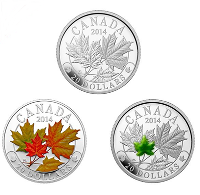 2014 1oz Silver Proof Coin - Majestic Maple Leaves 3-Coin Set