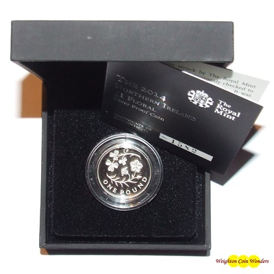 2014 Silver Proof £1 - Floral - Northern Ireland