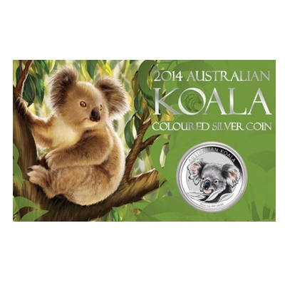 2014 1oz Silver Coloured Koala in Card