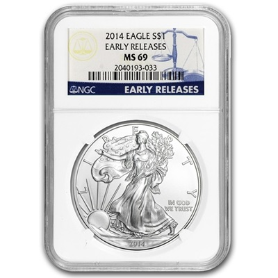 2014s 1 oz USA Silver Eagle MS-69 NGC - Early Release