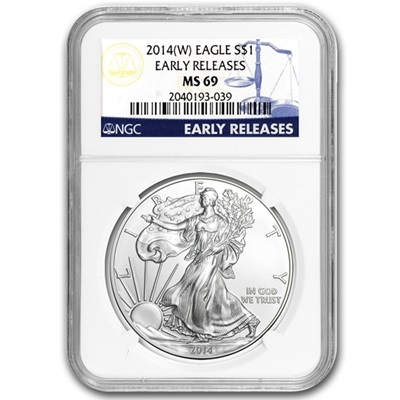 2014 1 oz USA Silver Eagle MS-69 NGC - Early Release