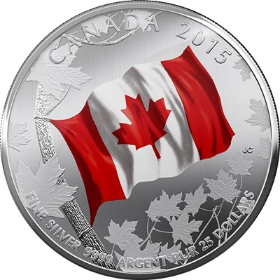 2015 $25 1/4oz Silver Coin - CANADIAN FLAG