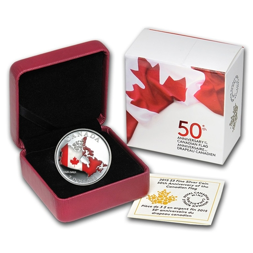 2015 $3 Silver Proof Coin - 50th Anniversary Canadian Flag