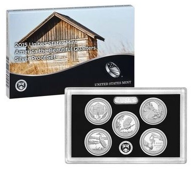 2015 USA America the Beautiful Quarters Silver Proof Set