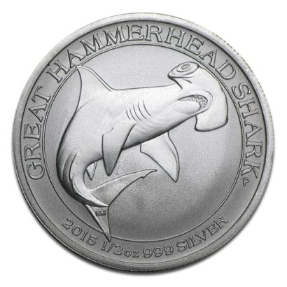 2015 1/2 oz Silver Great Hammerhead Shark