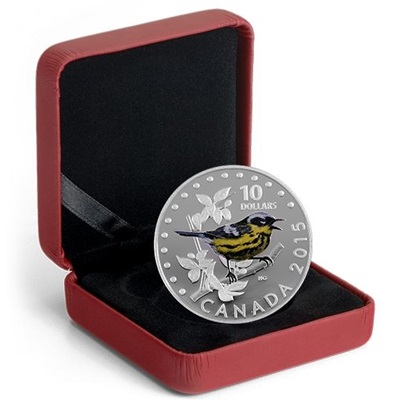 2015 $10 Silver Proof Coloured Coin - The Magnolia Warbler