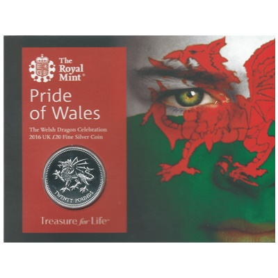 2016 UK £20 Fine Silver Coin - Pride of Wales