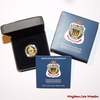 2016 Gold Proof 1/4oz $25 Coin - RSL Centenary