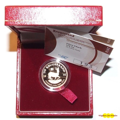 2016 Gold Proof 1/4oz KRUGERRAND - QEII 90th Birthday Privy