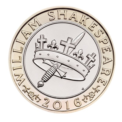 2016 £2 Coin - William Shakespeare (Crown & Dagger)