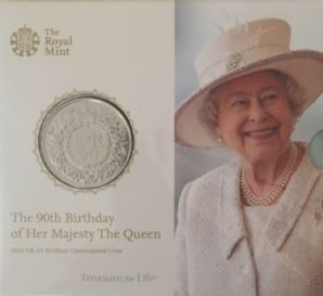 2016 £5 BU Coin - The Queen's 90th Birthday